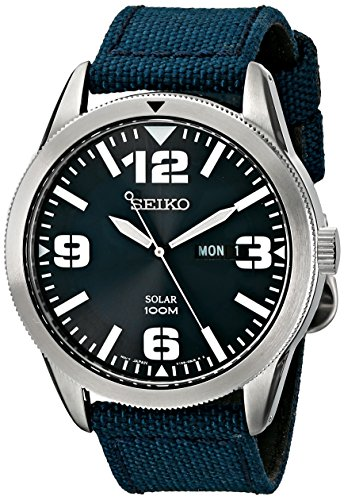 - Seiko Men's SNE329 Sport Solar-Powered Stainless Steel Watch with Blue Nylon Band