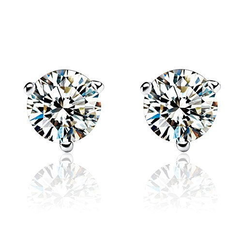 Crystal Studded Heart Earrings - Carleen Sterling Silver Bralliant Round Cut 3-Prong Simulated Diamond Clear CZ Crystal Solitaire Stud Earrings for Women