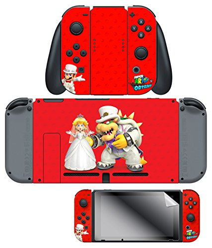 Skin   Screen Protector Super Mario Odyssey  Wedding  Joy Con   Dock Set  Red   Nintendo Switch
