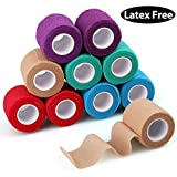 Product review for Self-Adhesive Cohesive Wrap Bandage Tape by LotFancy, Elastic Non-Woven,10 Rolls, Assorted Colors (2Inches x 5Yards)