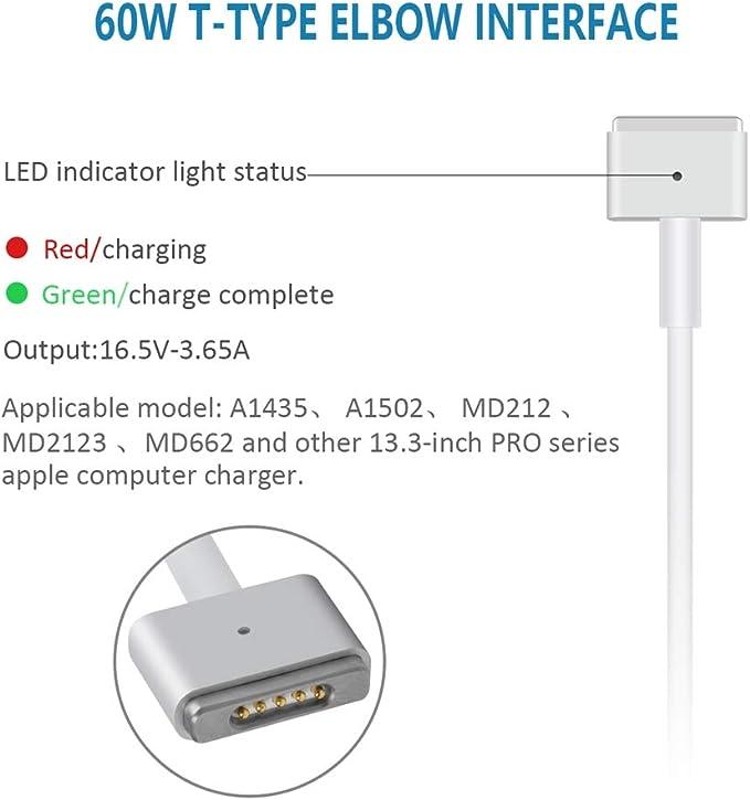 EPILUM Cargador de 60 W T forma para Mac Pro Retina de 13 pulgadas cargador para Mac Pro Retina de 13 pulgadas cargador magn/ético a partir de finales de 2012 A1435//A1465//A1502//MD212//MD213//MD662
