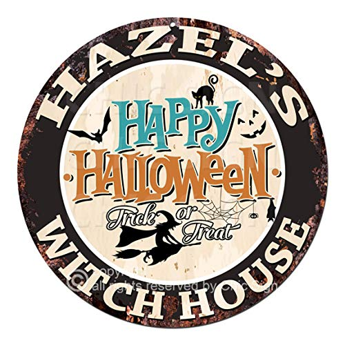 Hazel'S Happy Halloween Witch House Chic Tin Sign Rustic Shabby Vintage Style Retro Kitchen Bar Pub Coffee Shop Man cave Decor Gift Ideas]()