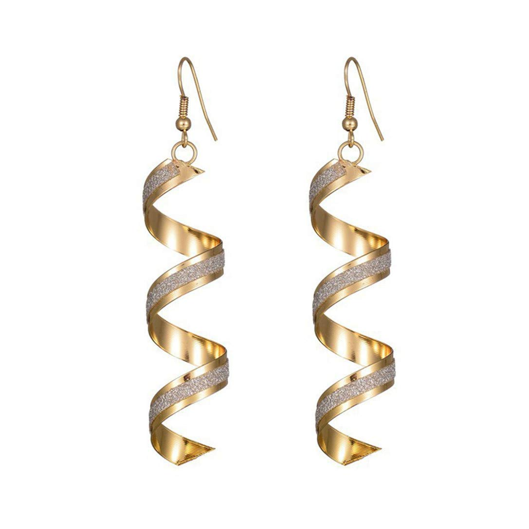FRCOLT Twist Spiral Earrings Dangle Earring Charm Jewelry Silver Gold Black Long Rotated Earring (Gold, alloy)