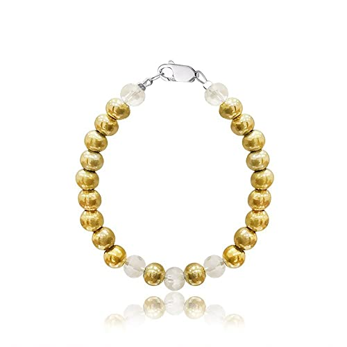 Amazoncom Baby Girls Czech Crystals And Gold Ball Bracelet