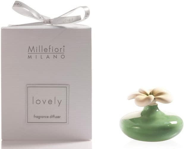 Millefiori Milano Lovely Extra Small Flower Diffuser, Ceramic, Green, 14.1 x 14.6 x 11.4 cm