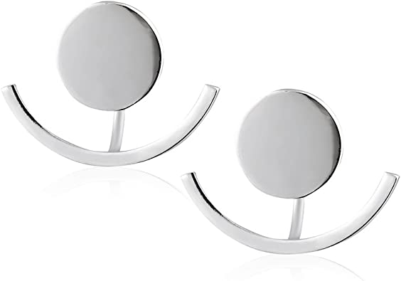 Shiny Round Circle Stud w//Up Down Straight or Curved Ear Jacket Earrings 925 Sterling Silver Matte