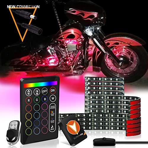 SCREAMFOX Upgrade Version 12Pcs Motorcycle LED Light Kit Strips Multi-Color Accent Glow Neon Lights Lamp Flexible with 2x Controller w/Switch for Harley Davidson Honda Kawasaki Suzuki Cruisers
