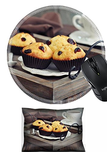 MSD Mouse Wrist Rest and Round Mousepad Set, 2pc Wrist Support design 24750076 Muffins with dried cranberry on vintage wooden tray closeup