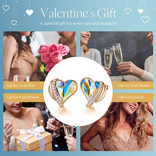 CDE Love Heart Stud Earrings for Women Rose Gold Plated Embellished with Austrian Crystals Valentines Day Jewelry Gifts for Women Wife