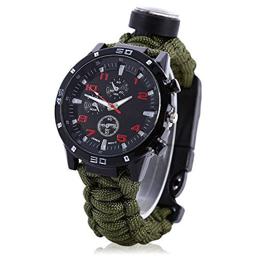 Survival Paracord Watch, Men & Women Emergency Survival Watch with Whistle/Fire Starter/Scraper/Compass and Thermometer, 6 in 1 Multifunctional Outdoor Gear (ArmyGreen)