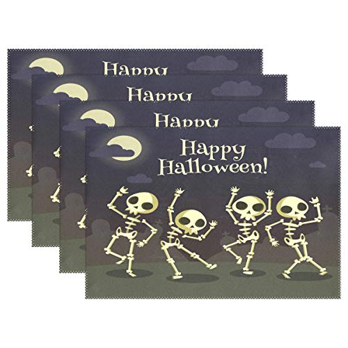 Fengye Placemats Halloween Skull Ghost Kitchen Table Mats Resistant Heat Placemat for Dining Table Washable 18 x 12 Inch Set of 6