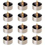 CC Home Furnishings Club Pack of 12 Silver Plated B/O Flickering Amber LED Tea Lights 1.75""