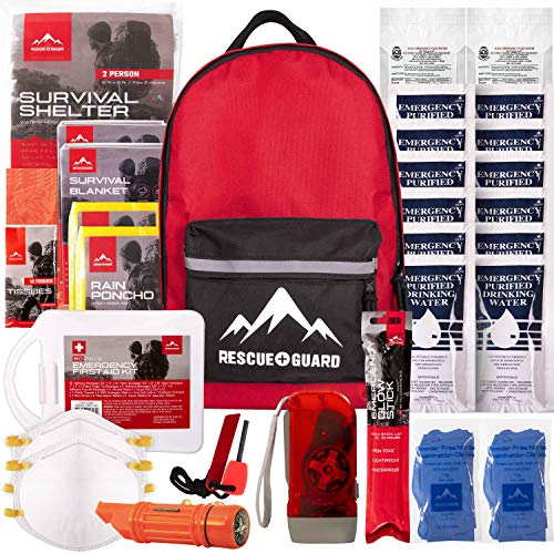 - Rescue Guard; First Aid Kit, Hurricane Kit, Disaster Kit or Earthquake Kit; Emergency Survival Kit, Bug Out Bag Supplies, Survival Gear for 12 Days, 6 Days for 2, 72 Hours 4 People (Survival Pack)