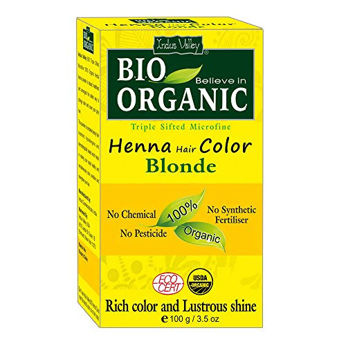 - Indus Valley BIO Organic Chemical Free Natural Blonde Henna Hair Color For Grey Coverage Hair
