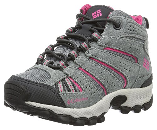 Columbia Kids' Childrens North Plains Mid Waterproof Hiking Boot, Grey Ash/Ultra Pink, 10 M US Little Kid by Columbia