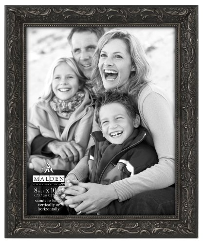 Malden International Designs Classic Ornate Black Wood Picture Frame, 8x10, Black Classic Scroll Picture Frame