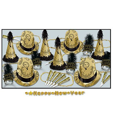 Hat Happy Top New Year (Gold Midnight New Years Eve Party Kit Assortment for 10)