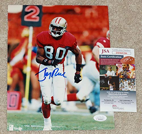 - Jerry Rice Signed Photo - #80 8x10 + COA DD68286 - JSA Certified - Autographed NFL Photos