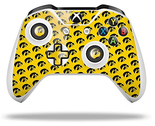 Iowa Hawkeyes Tigerhawk Tiled 06 Black on Gold - Decal Style Skin fits Microsoft XBOX One X and One S Wireless Controller