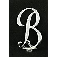 "Silver Rhinestone Monogram Wedding Cake Topper Top Letter Initial ""B"""