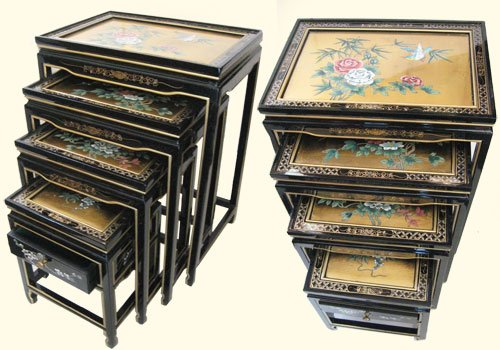 Set of Four Oriental Nested Tables Hand Painted Bird and Flower on Gold Leaf Panels with Glass Top and Drawer