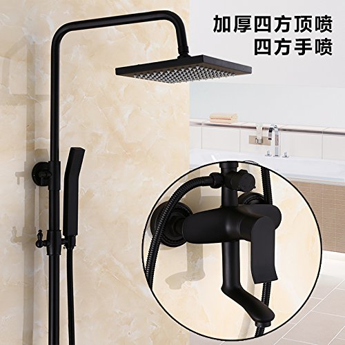 I The four main gear black copper shower shower scrub suit European dark matte bath shower A