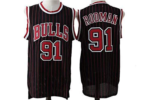 Dennis Rodman #91 Chicago Bulls Jersey Mens Stripe Basketball Jerseys Black Red (Dennis Rodman Chicago Bulls)