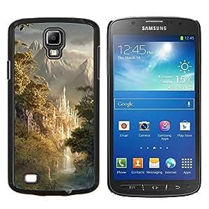 KLONGSHOP // Cubierta de piel con cierre a presión Shell trasero duro de goma Protección Caso - Diseño japonés montañas Forrest - Samsung Galaxy S4 Active i9295 //