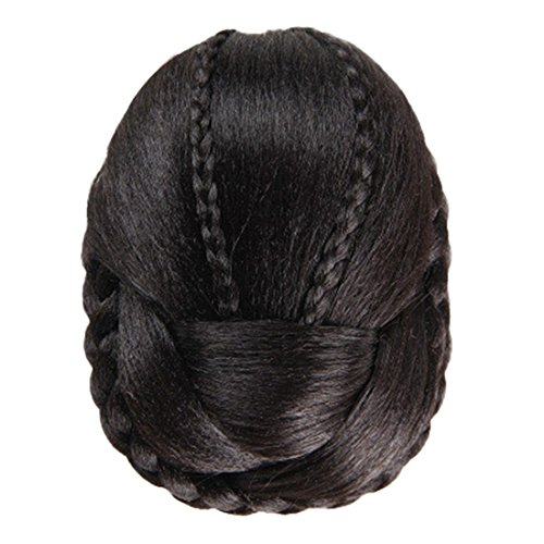 Hemlock Women Girl Round Fashion Wig Hair Braided Wig (Black)