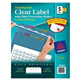 Wholesale CASE of 10 - Avery Index Maker Easy Apply Clear Label Strips-Index Label Dividers, Plastic, 5-Tab, 3HP Punched, Multi