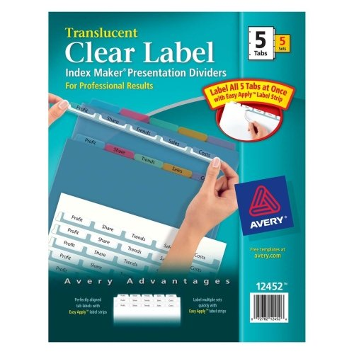 Wholesale CASE of 10 - Avery Index Maker Easy Apply Clear Label Strips-Index Label Dividers, Plastic, 5-Tab, 3HP Punched, Multi (3hp Punched Plastic 5 Tab)