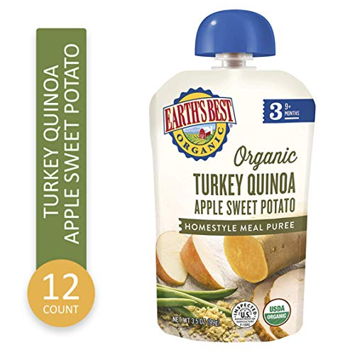 Earth's Best Organic Stage 3 Baby Food, Turkey Quinoa Apple Sweet Potato, 3.5 oz. Pouch, 6 Pack.