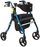 Medline Premium Empower Folding Mobility Rollator Walker with 8'' Wheels, Blue