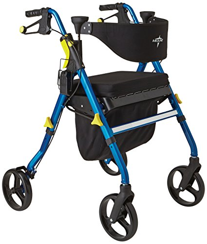 4 Wheel Rolling Walker - Medline Premium Empower Folding Mobility Rollator Walker with 8
