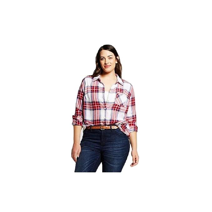 9642a53b005 Ava & Viv Women Plus Size Button-Down Long Sleeve Plaid Shirt Red/White