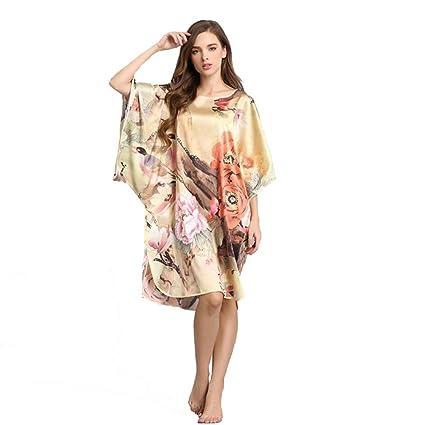 Pijama Mujer 100% Seda Pura Ropa de Dormir Ropa de Dormir Cordón Honda Verano Bata