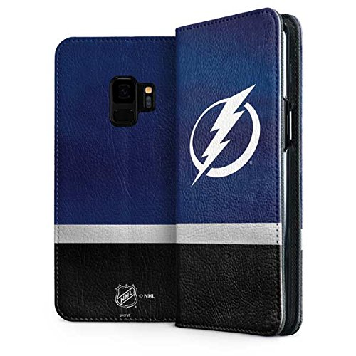 Skinit Tampa Bay Lightning Alternate Jersey Galaxy S9 Folio Case - Officially Licensed NHL Phone Case Folio - Faux-Leather Wallet Galaxy S9 Cover