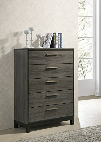 (Roundhill Furniture Ioana 187 Antique Grey Finish Wood 5 Drawers Chest, Chest)