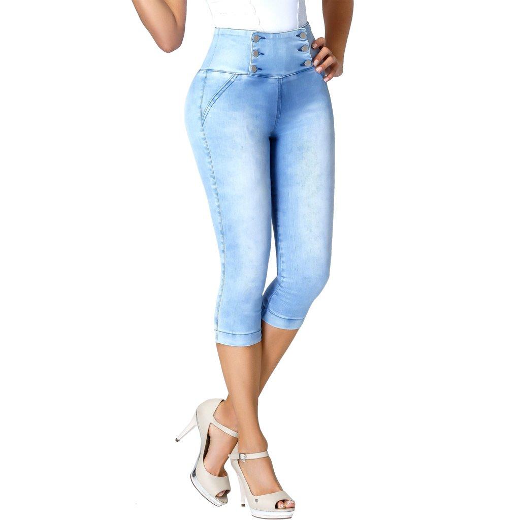 Lowla 239257 Colombian High Waisted Skinny Capri Jeans Pantalones Levanta Cola