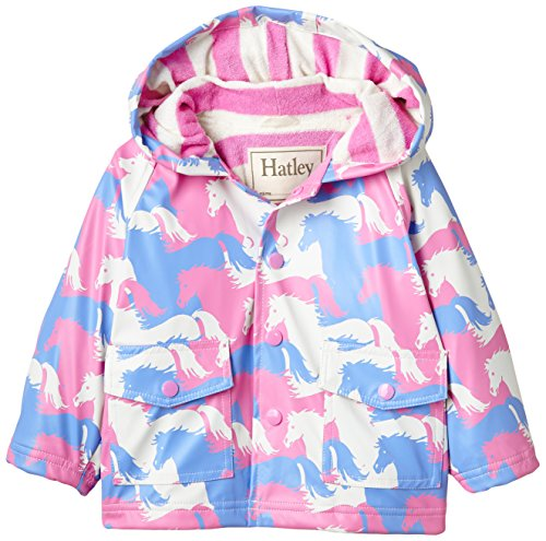 Price comparison product image Hatley Baby Girls' Raincoat Puzzle Piece Horses, Pink, 12 18 Months