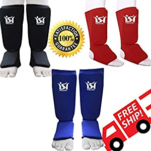 Shin Instep Pads MMA Boxing Leg Foot Guards Muay Thai Protector Kick Boxing Martial Art PAIR