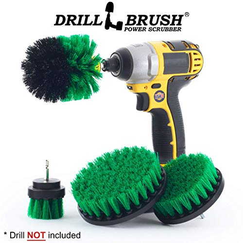 Shower Kit Brush - Drillbrush 4 Piece Drill Brush Cleaning Tool Attachment Kit for Scrubbing/Cleaning Tile, Grout, Shower, Bathtub, and all other General Purpose Scrubbing