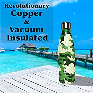 Reusable Stainless Steel Water Bottle-Ice Cold 40 Hours! Revolutionary Copper & Vacuum Insulated ,Leakproof Screw Top,17 Ounce by Live Long Life