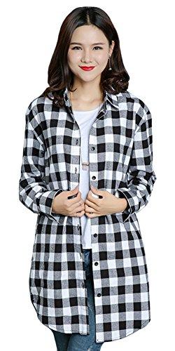 Benibos Womens Long Flannel Plaid Shirts (Black White, L)