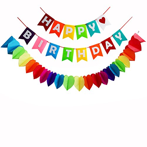 Happy Birthday Decorations Banner,Rainbow Paper Garland For Party (Rainbow Birthday)