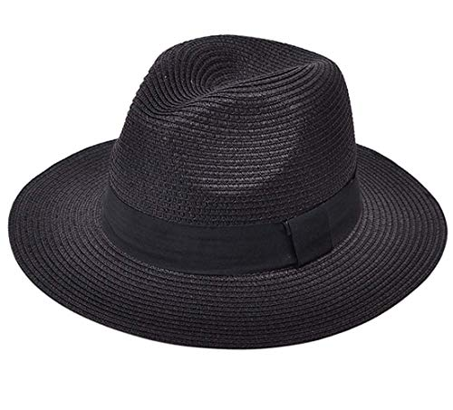 Women Wide Brim Outdoor UV Protection Foldable Straw Hats Panama Roll up Hat UPF50+ Fedora Beach Fishing Hat(Black,Head Size: ()