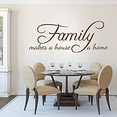 Family Wall Quotes - Family Makes A House A Home- Romantic Lovers Wall Stickers Living Room Decor Decoration For Wedding Valentine-Without Picture Frames