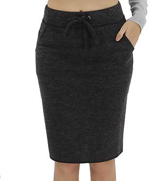 419f3408dc BENANCY Women's High Waist Stretch Pencil Skirt with Pockets Black S