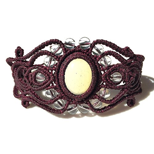 Moonstone Macrame Bracelet with Quartz and Amethyst Stones in Magenta: Handmade One of a Kind Knotted Fiber Art Jewelry by Rumi Sumaq