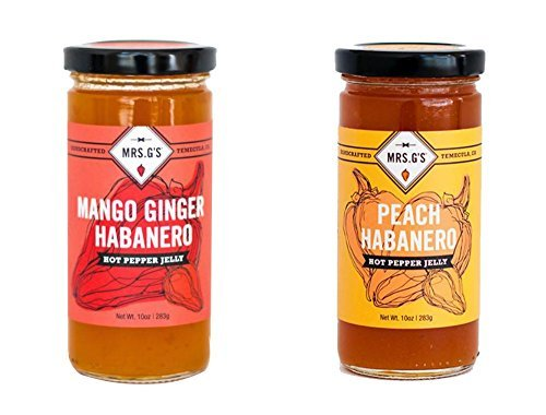 Mrs. G's Hot Pepper Jelly 2-Pack: Mango Ginger Habanero and Peach Habanero Jelly - Locally sourced and packaged in Southern California